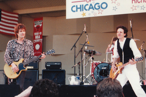 Paul Westerberg and Slim Dunlap perform during The Replacements' last show, Taste of Chicago 1991. Photo courtesy of Bob Ingrassia